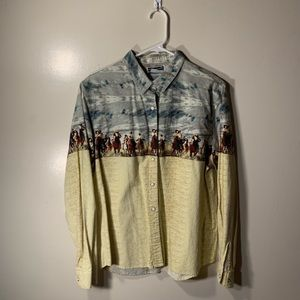 Vintage western shirt with cowboy print